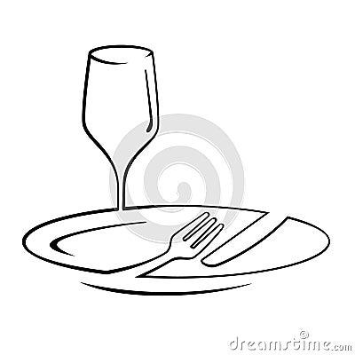 Free Dinner Line Art Stock Photography - 26279272