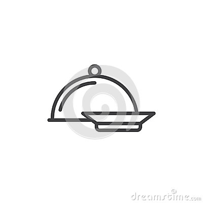 Free Dinner Line Icon, Outline Vector Sign, Linear Style Pictogram Isolated On White Stock Image - 95968661