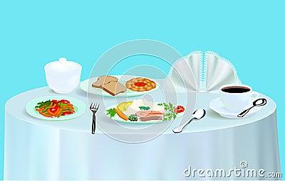 Dinner with salad fish tea and a bun