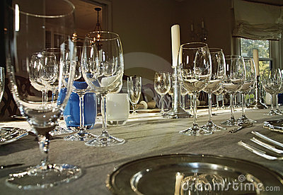 Dinner Table With Wine Glasses