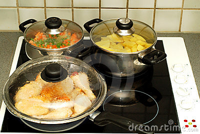 Dinner time, cooking