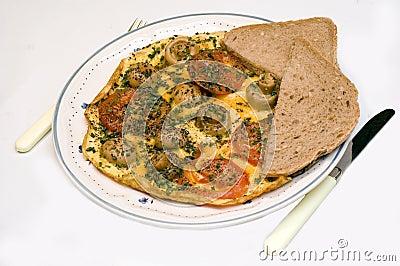 Dinner time, omelet.