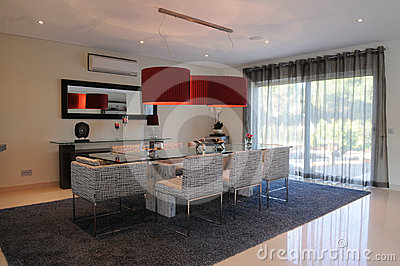 Modern Dinning Room with Stylish Red Lampshade