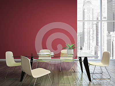 Dinnng room with burgundy walls