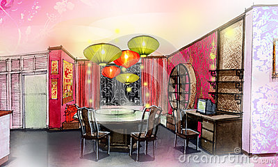 Dinning room chinese style house renovate
