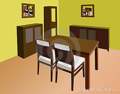 Dinning Room Interior Vector Royalty Free Stoc