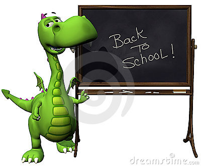 Dino baby dragon green back to school blank