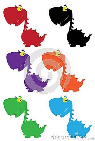 Dino cartoon cute color