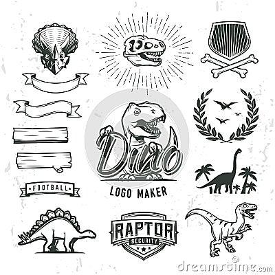 Free Dino Logo Maker Set. Dinosaur Logotype Creator. Vector T-rex Banner Template. Royalty Free Stock Photo - 72697235