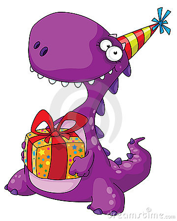 Free Dinosaur And A Gift Stock Photography - 18436612