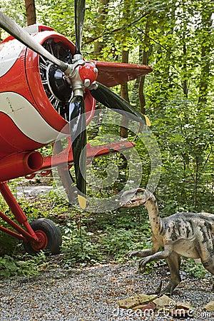 Dinosaur and biplane