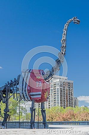 Dinosaur with Blackhawks  jersey Editorial Photo