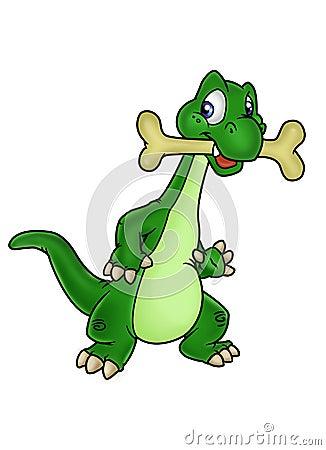 Dinosaur and bone