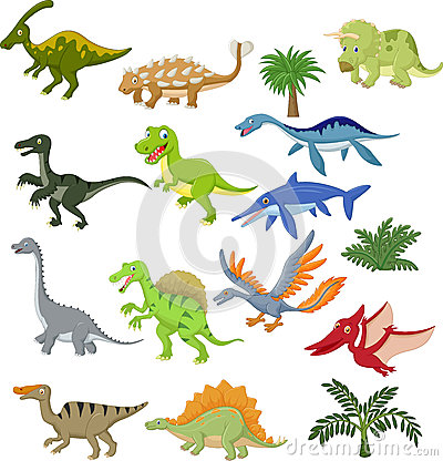 Free Dinosaur Cartoon Collection Set Stock Images - 45746834