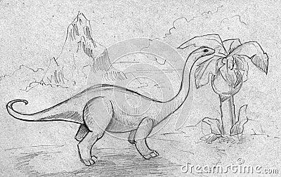 Dinosaur feeding on plants