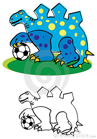 Dinosaur with football