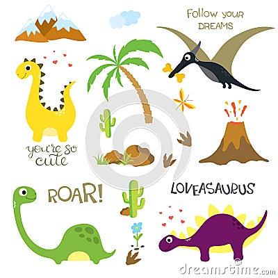 Free Dinosaur Footprint, Volcano, Palm Tree, Stones, Bone And Cactus Stock Photo - 123801130