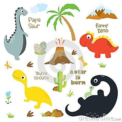 Free Dinosaur Footprint, Volcano, Palm Tree, Stones, Bone And Cactus Royalty Free Stock Image - 124603116