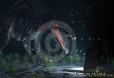 Dinosaur looking on computer