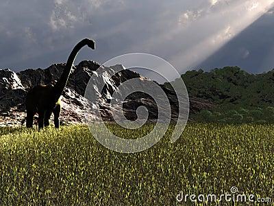 Dinosaur looking for food