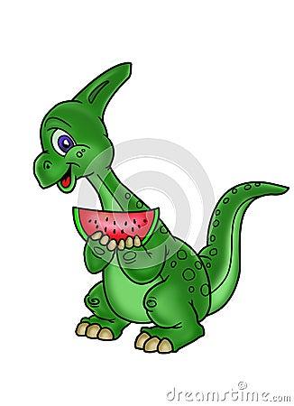 Dinosaur loves watermelon