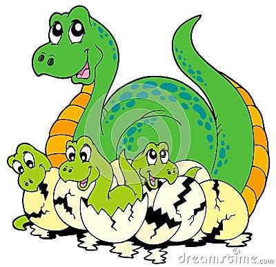 Free Dinosaur Mom With Cute Babies Stock Photo - 14638440
