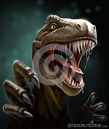 Dinosaur with teeth and claws, close-up Stock Photo