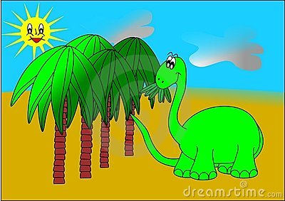 Dinosaur and palm trees
