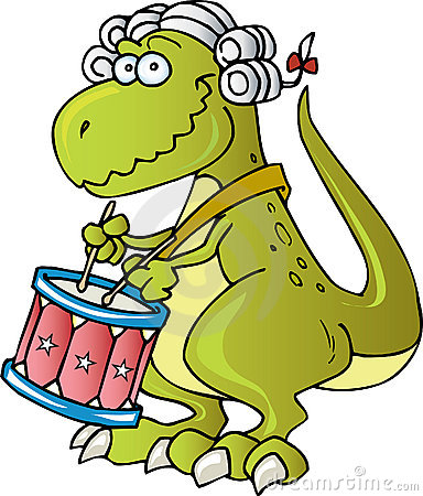 Dinosaur playing Drums