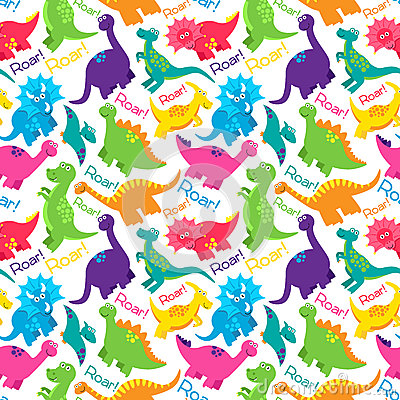 Free Dinosaur Seamless Tileable Vector Background Pattern Royalty Free Stock Image - 50905366
