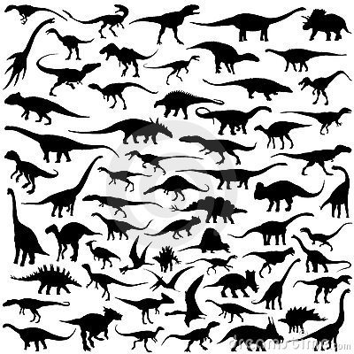 Free Dinosaur Silhouette Vector Collection Royalty Free Stock Photo - 9345355