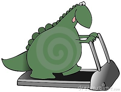 Dinosaur sur un tapis roulant