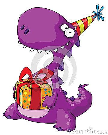 Dinosaurio y un regalo