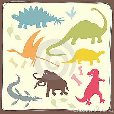 Dinosaurs  Coloured Set
