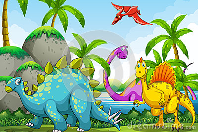 Dinosaurs living in the jungle Vector Illustration