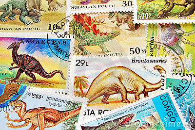 Dinosaurs postage stamps background