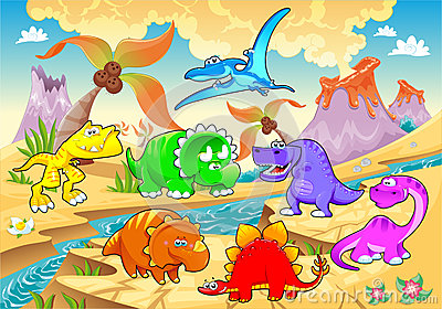 Dinosaurs rainbow in landscape.