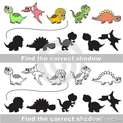 Free Dinosaurs Set. Find Correct Shadow. Stock Image - 68126901