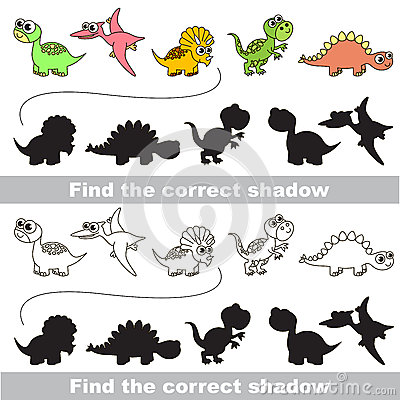 Dinosaurs set. Find correct shadow. Vector Illustration