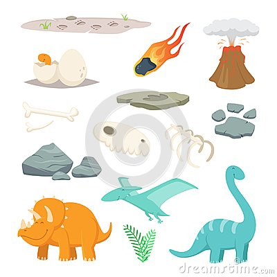 Free Dinosaurs, Stones And Other Different Symbols Of Prehistoric Period Stock Photography - 113036932