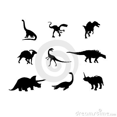 Dinosaurs vector silhouette