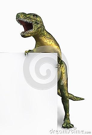 Dinosaurus met Rand van Leeg Teken