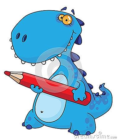 Dinossauro com um lápis