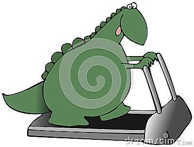 Dinossauro em uma escada rolante