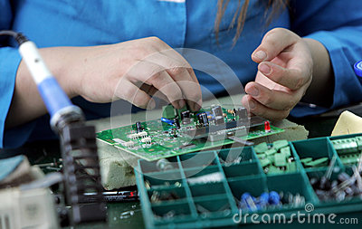Diode Factory Worker Hands Editorial Photo