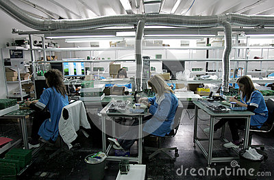 Diode Factory Workers Editorial Stock Image