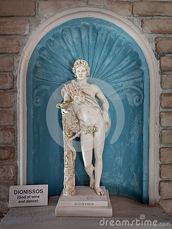 Dionysus Statue God Of Harvest And Wine In Greek Stock ...