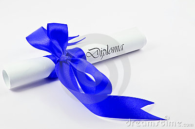 Diploma with blue ribbon