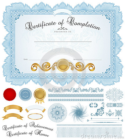Free Diploma / Certificate Background With Blue Border Stock Photo - 30631630