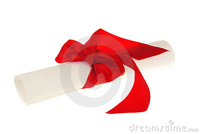 Diploma document with red ribbon